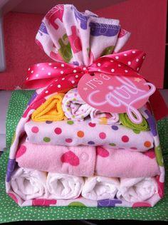 Diaper Baby Stork Baby Shower Gift Baby Girl- Diaper Cake. $29.00, via Etsy.