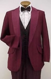 VINTAGE 4pc BURGUNDY PROM TUXEDO EMO RETRO 35R BEETLEJUICE COSTUME TUX