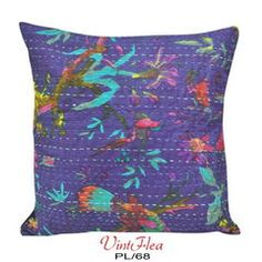 Blue DIY HandCrafted Pillow Case Kantha Cushion Cover PL68