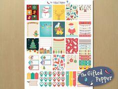 Printable Erin Condren planner sticker kit for December, Christmas, Holidays, Winter