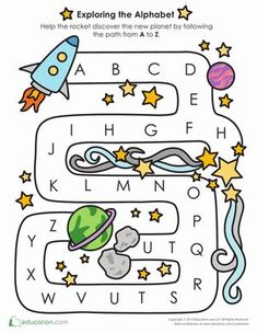Adventurers, get ready for lift off. Race to the planet y connecting letters A to Z and prove that you& an alphabet master! This fun maze is a great way to reinforce your preschooler& alphabet learning. Space Theme Classroom, Space Theme Preschool, Space Activities, Preschool Classroom, Preschool Learning, Preschool Activities, Travel Activities, Teaching, Maze Worksheet