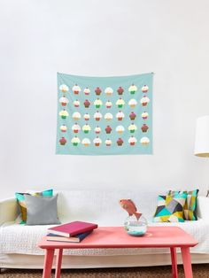 'Cupcakes' Tapestry by demonkourai Tapestries, Cupcakes, Unique, Pattern, Home Decor, Hanging Tapestry, Cupcake Cakes, Decoration Home, Room Decor