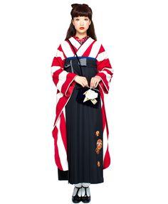 画像2: 袴セット 赤ストライプレトロ