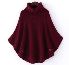 Fall Winter Women Turtleneck Poncho Sweater Korean Fashion Plus Size Loose Batwing Sweater Ladies Knitted Ponchos Capes Coat
