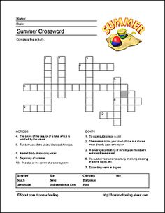 Summer Wordsearch, Crossword Puzzle, and More: Summer Crossword Puzzle