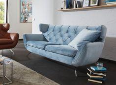 Sofa im Sixty Style von Candy in hellem rauchblau. - Möbel Mit www.moebelmit.de