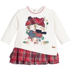 Baby Girls Ivory Sweatshirt & Tartan Dress, Mayoral, Girl