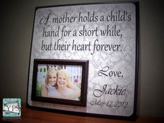 Custom Wedding Frame, A Mother holds a child's Hand, Parent Gift, Thank You, Wedding, Mother of the Bride - Groom. $65.00, via Etsy.