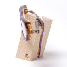 wooden eyeglass stand
