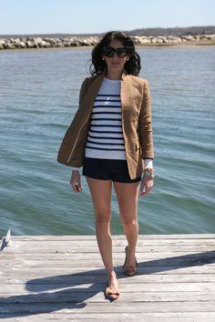 MariaOnPoint | Shorts Season @jcrew blazer, @forever21 shorts, #anntaylor sweater