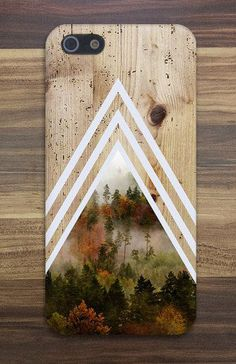 iPhone 5 Chevron Dense Forest x Tree Bark Wood Case