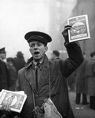 1949: A Chelsea FC programme seller working at Stamford Bridge