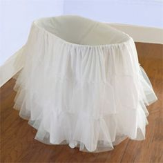 Bassinet Petticoat - I know this is intended to go under the skirt, but according to the reviews, many people used it for the actual skirt & were VERY pleased & only $24.  WHAT A BARGAIN!