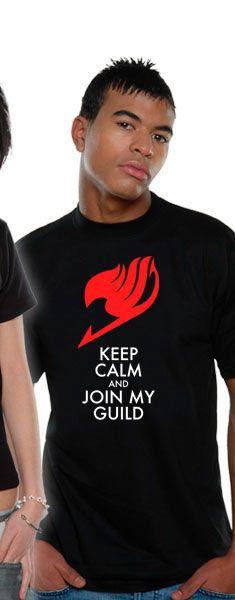 Camiseta Keep Calm. Fairy Tail Estupenda camiseta que lleva por título Keep Calm, perteneciente al manga/anime Fairy Tail y que es 100% oficial, licenciada y fabricada en material 100% algodón.