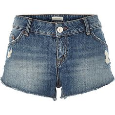 Mid wash distressed denim shorts £30.00