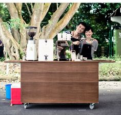 Fresh coffee with mobile coffee booth! For a high tea wedding reception Image from nylon coffee roasters