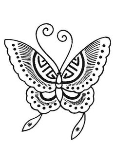 Un papillon avec des ailes à motif ethnique, à colorier