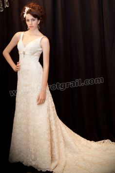 French-quartered Beaded Lace V-neck A-line cathedral length Train Wedding Dress