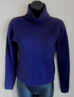 HAROLD'S Women's Purple 100% CASHMERE Turtleneck Sweater S Small #Harolds #TurtleneckMock
