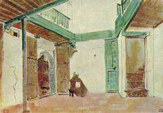 """""""Moroccan courtyard"""" - Eugene Delacroix, Musee du Louvre, Paris"""