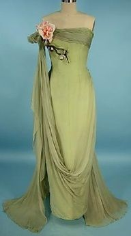Howard Greer, Beverly Hills, sage green silk chiffon evening gown, c. 1950s #American #fifties #20th_century