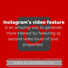 Use social media as a tool to build your real estate business. #Instagram video is one of many ways to feature your listings in an interesting way.