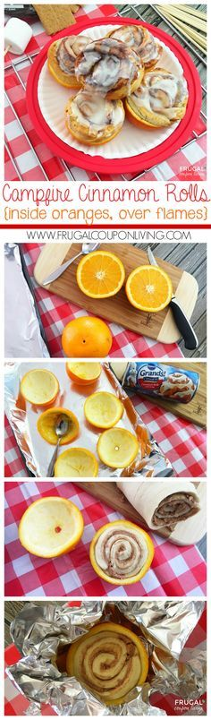 Camping Campfire Cinnamon Rolls Baked in Oranges - a camping recipe with a twist! We love this as a camping breakfast idea!  More camping ideas on Frugal Coupon Living.