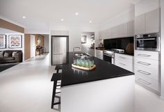 There are a lot of kitchen styles nowadays which all of them are attractive. One of them is a jet kitchen style. Never heard about a jet kitchen before? Are you curious how does this kitchen style look? New Kitchen, Kitchen Decor, Kitchen Ideas, Kitchen Designs, Glass Kitchen Cabinets, Gloss Kitchen, Cupboards, Stone Benchtop, Display Homes