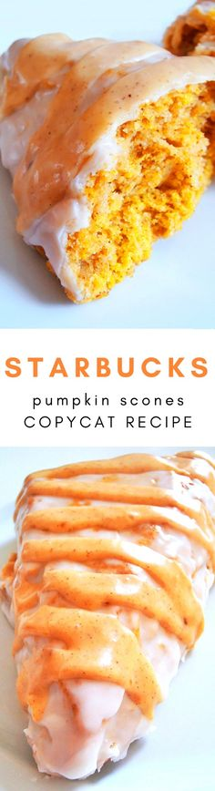Starbucks Double Glazed Pumpkin Scones Copycat Recipe! These would be perfect for breakfast with a cup of coffee during the Christmas and fall season.