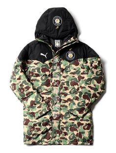BAPE X Puma Long Camo Jacket Military Men's and Women's Parka A Bathing Ape Camouflage Coat