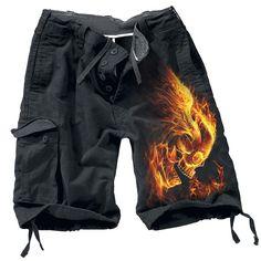 """Le fiamme dell'inferno possono anche bruciare su di te, non credi? Allora questi #Pantaloncini """"Burn In Hell"""" del brand Spiral fanno per te! Sulla gamba infatti è presente la stampa di un teschio infuocato, sia sul davanti che sul retro. Hell Yeah!"""