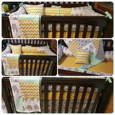 Elephant Crib bedding by thecrookedneedle2014 on Etsy