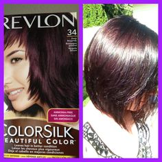 Revlon 34 Deep Burgundy used on virgin Medium Brown hair. It was difficult to wash out and left my hair feeling dry but I love the color results! I wanted a Purple,Plum, Burgundy shade without it being too dramatic and this is perfect!