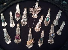 Pendants made from spoons with Vintage embellishments
