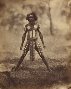 """les-sources-du-nil: """" Antoine Fauchery & Richard Daintree Aboriginal Man ornamented for a Corroboree, standing, full face, whole-length, circa 1858 """" Aboriginal Man, Aboriginal Culture, Aboriginal People, Aboriginal Symbols, Aboriginal Painting, Australian Aboriginal History, Stone Age People, Red Chief, Australian Aboriginals"""