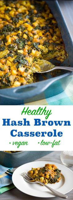 Hash Brown Casserole Kale and chickpeas give this comfort food a nutritional boost and turn it from a side to a low-fat, vegan main dish.Kale and chickpeas give this comfort food a nutritional boost and turn it from a side to a low-fat, vegan main dish. Vegan Casserole, Casserole Recipes, Vegan Breakfast Casserole, Brunch Casserole, Potato Casserole, Whole Food Recipes, Cooking Recipes, Healthy Recipes, Cooking Food