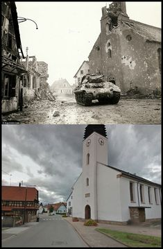 An American tank along a devastated road in Rohrwiller, France, February 1945 Rue du Cimetière n. 52 and the same street today Then And Now Photos, Before And After Pictures, D Day Landings, Historia Universal, Foto Poster, World War One, Historical Pictures, War Machine, History Facts