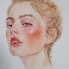 songbly(@songbly84) • Instagram 사진 및 동영상 Watercolor Face, Watercolor Portraits, Art Sketches, Art Drawings, Horse Drawings, Drawing Art, Vaporwave Art, Art Corner, Korean Art