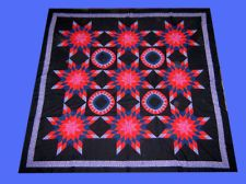 Incredible Handmade Patchwork  Amish styled Star Field compass   - QUILT TOP