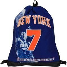 NBA Carmelo Anthony New York Knicks Authentic Jersey Sling Drawstring Backpack - Royal Blue by Football Fanatics. $24.95. Carmelo Anthony New York Knicks Authentic Jersey Sling Drawstring Backpack - Royal BlueNot for children under 3Officially licensed NY Knicks bagApplique wordmark and numberSewn-on NBA tagZippered pocket on backScreen print graphicsMesh panelImportedDrawstring closure at topNot for children under 3Drawstring closure at topZippered pocket on bac...