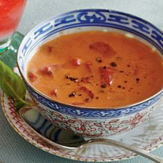 Tomato-Basil Bisque Recipe Soups with tomato soup, diced tomatoes, buttermilk, fresh basil, freshly ground pepper, fresh basil leaves, freshly ground pepper, parmesan cheese