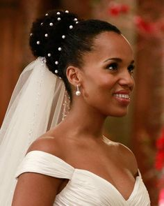Scandal: Every Jaw-Dropping Photo From Olivia and Fitz's Fantasy Wedding Black Brides Hairstyles, Afro Wedding Hairstyles, 90s Hairstyles, Natural Hair Wedding, Afro Hair For Wedding, Natural Hair Brides, Olivia And Fitz, Bridal Hair Inspiration, Fantasy Wedding