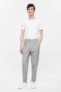 COS image 1 of Relaxed turn-up trousers in Grey