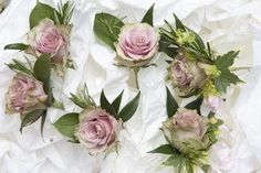 Dusky pink rose & rosemary buttonholes