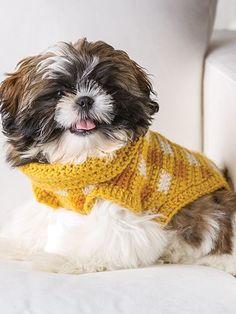 Gingham-Style Crochet Dog Sweater free pattern