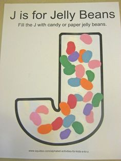 alphabet activities for kids j is for jelly beans ***free printable***/glue real jelly beans on instead