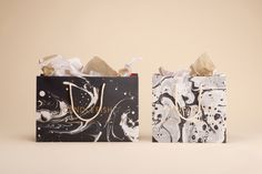 Marbled shopping bags for Charleston scented candle store and workshop Candlefish by Fuzzco