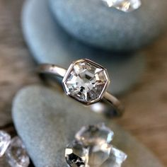 This actually looks like a champagne diamond, the way the gold shine through. Cut in the USA // Cruelty Free Herkimer Diamond Gemstone Ring // Palladium White Engagement Ring // Asscher Cut for the Unique Bride Bling Bling, The Bling Ring, Perfect Engagement Ring, Engagement Ring Cuts, Vintage Engagement Rings, Herkimer Diamond, Diamond Gemstone, Gemstone Rings, Uncut Diamond