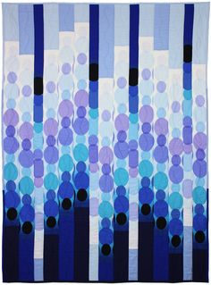 Blue Raindot Bargello quilt, free pattern on Michael Miller Fabrics