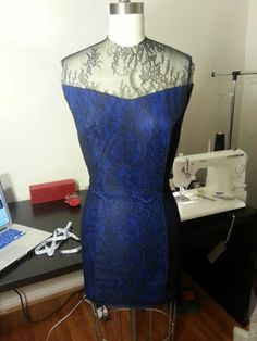 Blue wool pencil dress with black lace overlay & illusion (front)